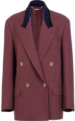 Fendi Gingham Double-Breasted Blazer