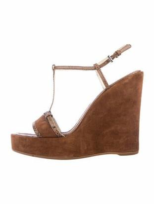 Prada Embossed Suede T-Strap Sandals Brown