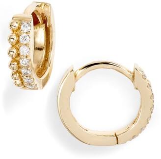 Bony Levy Diamond & Gold Bead Huggies
