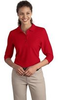 Port Authority Women's Silk Touch 3/4 Sleeve Polo L