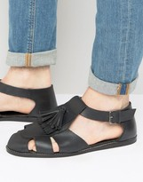 Asos Fisherman Sandals In Black Leather With Tassel