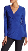 Anne Klein Long Sleeve Wrap Blouse