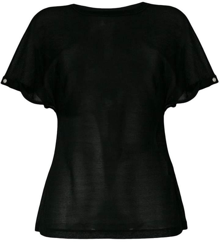 Paco Rabanne logo embellished sleeve sheer top