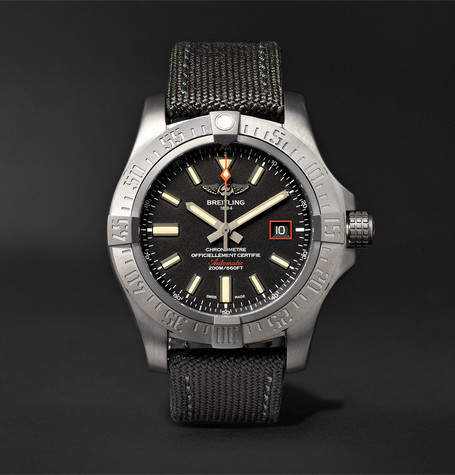 Breitling Avenger Blackbird Automatic 44mm Titanium And Canvas Watch, Ref. No. V1731110/bd74 - Black