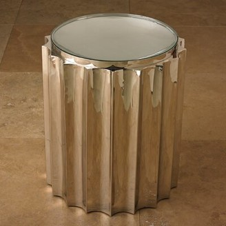Global Views Fluted Glass Top Drum End Table Color: Nickel