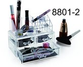 9milelake 2 Storage Clear Acrylic Transparent Makeup Box Organiser Cosmetic Display Case - 8801-2