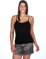 Noble Mount Womens Premium Satin Shorts and Cami Sleep Set - Leopard Gray-Black