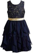 Youngland Girls 4-6x Metallic Lace Waterfall Skirt Dress