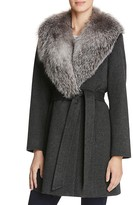 Sofia Cashmere Fur Collar Wool & Cashmere Wrap Coat
