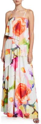 Josie Natori Eden Floral-Print Convertible Ruffle Maxi Dress