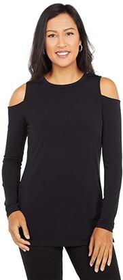 MICHAEL Michael Kors Solid Long Sleeve Cold-Shoulder (Black) Women's Clothing