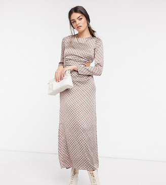 Annorlunda maxi dress with cut-outs in coloured houndstooth