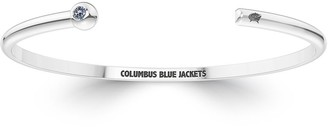 The Sporn Company Columbus Blue Jackets Engraved Sterling Silver White Sapphire Cuff Bracelet