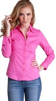 Clothes Effect Woman Plus Size Cuffed Long Sleeve Button Up Blouse