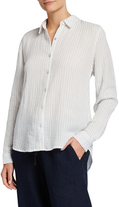 Eileen Fisher Plus Size Striped Cotton Gauze Classic Collared Shirt