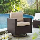 Crosley Modern Marketing Palm Harbor All-Weather Resin Wicker Swivel Rocker Chair with Cushions in Sand