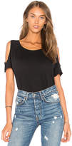 Bobi Light Weight Jersey Cold Shoulder Tee in Black. - size L (also in M,S,XS)