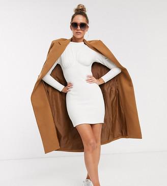 ASOS DESIGN long sleeve rib corset mini t-shirt dress