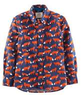 Boden Boys' Cobalt & Fox Printed Shirt.