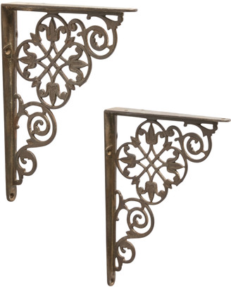 Rejuvenation Pair of Iron Shelf Brackets w/ Leaf Pattern