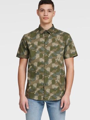 DKNY Men's Short Sleeve Button-up Camo Shirt - Dusky Green Camo Print - Size XS