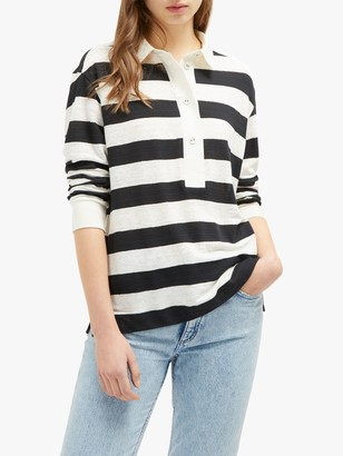 French Connection Cotton Linen Stripe Shirt, Black/Classic Cream