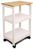 Catskill Craft Utility Kitchen Cart/Microwave Stand, White Base with Natural Top