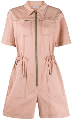 Brunello Cucinelli Zipped Front Drawstring Playsuit