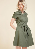ModCloth Smoothie Enthusiast A-Line Dress in Olive in XXS