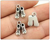 Nobrand No brand 5pcs 14*10mm antique silver plated baby shoes charms