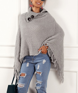 Maison Mascallier Women's Ponchos Gray - Gray Tassel Button-Accent Shawl-Collar Poncho - Women