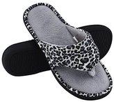 HomeTop Women's Leopard Memory Foam Spa Thong Flip Flops Indoor House Slippers