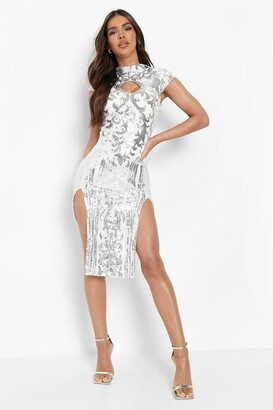 boohoo Sequin High Neck Double Split Midi Dress
