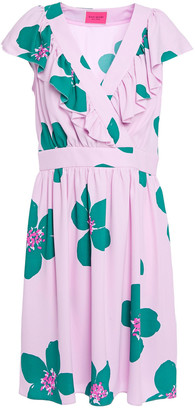 Kate Spade Gathered Ruffle-trimmed Floral-print Cady Mini Dress
