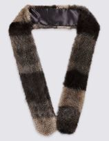 Marks and Spencer Patchwork Long Faux Fur Skinny Scarf