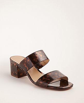 Ann Taylor Liv Tortoiseshell Print Patent Block Heel Sandals