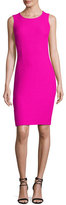 St. John Clair Knit Jewel-Neck Dress, Pink