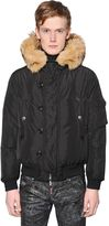 DSQUARED2 Fur Trimmed Padded Nylon Bomber Jacket