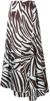 3.1 Phillip Lim Zebra Print Flared Skirt