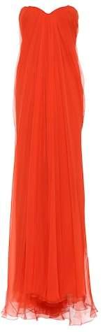 Alexander McQueen Strapless silk chiffon gown