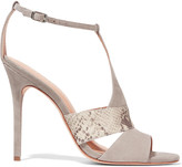 Halston Connie snake effect-trimmed suede sandals