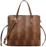 Neiman Marcus Sally Python-Print Tote Bag, Cognac