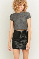 Light Before Dark Asymmetrical Zip Black Patent Leather Skirt