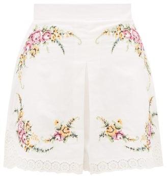 Zimmermann Allia Floral Cross-stitch Linen-blend Shorts - Womens - White