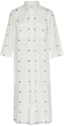 Ada Kamara Dot Shirt Dress In White Blue