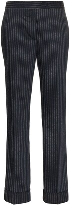 Golden Goose Navy And Silver Metallic Venice Pinstripe Trousers