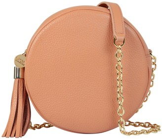 Aurora London The Cleo Circle Leather Bag Apricot