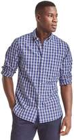 True wash poplin windowpane slim fit shirt