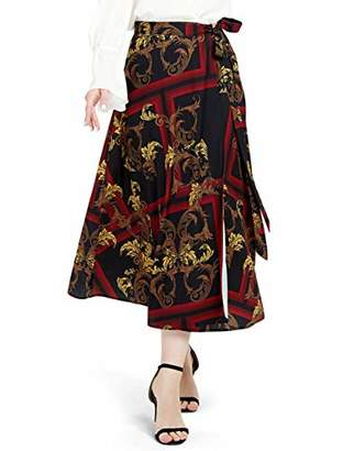 Basic Model Women's Chiffon Dress Vintage High Elastic Waist Basic OL-Style A-line Printed Pleated Midi Skirts