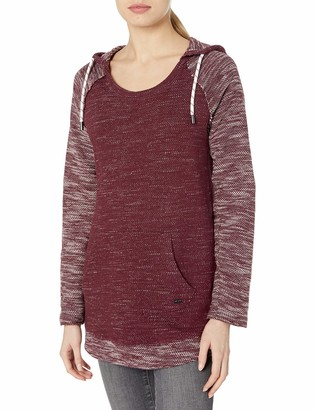 Andrew Marc Women's Heritage Terry roll-Sleeve Curved Hem Hooded Tunic